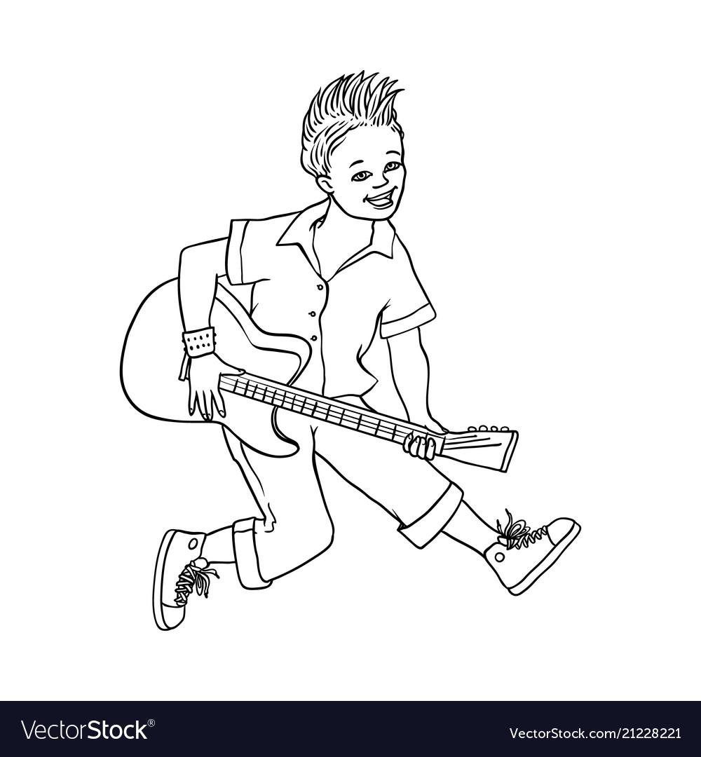 Flat man playing rock electric guitar music