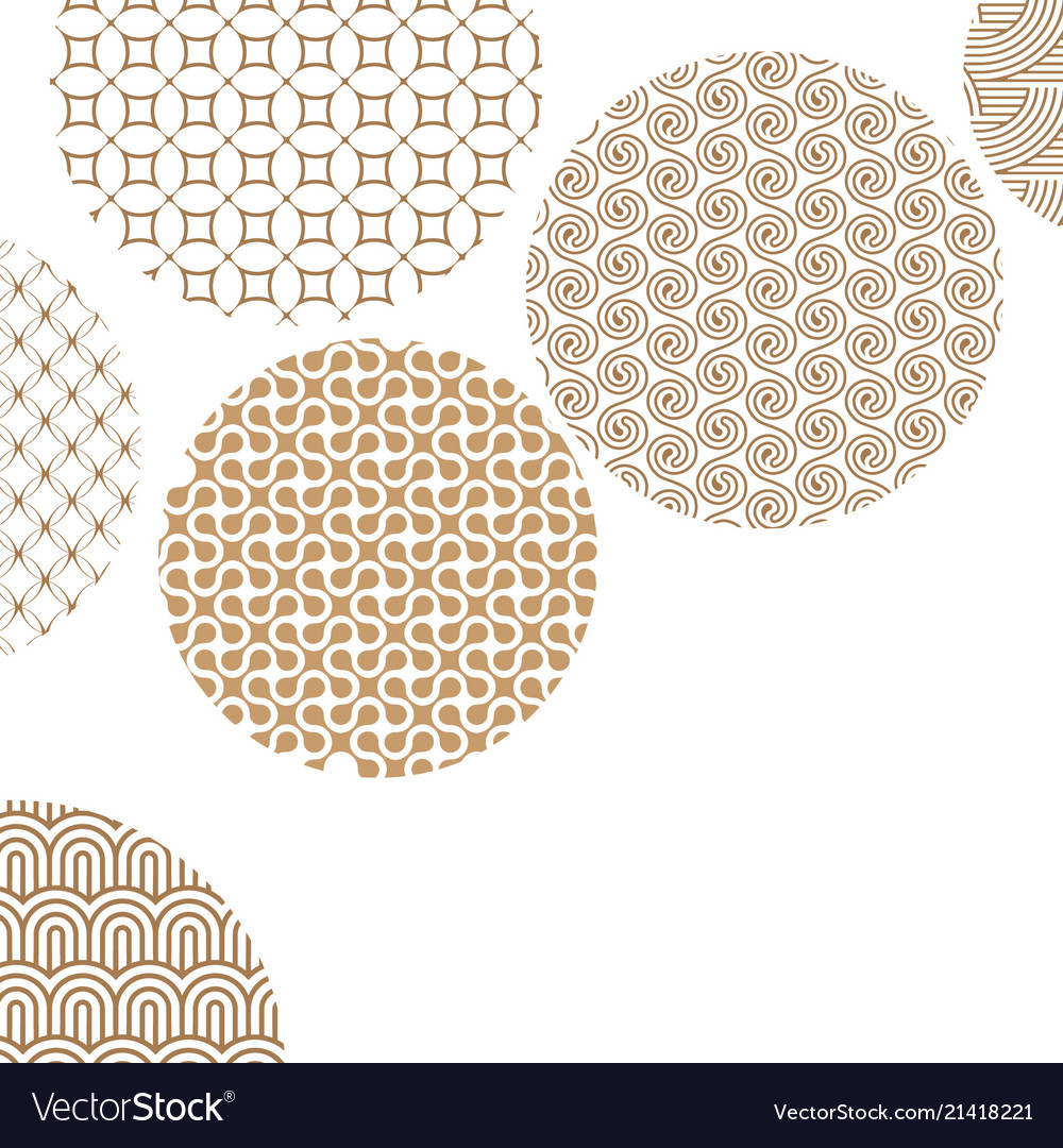 Golden circles with different geometric patterns