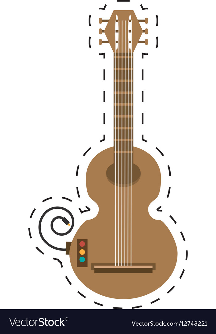 Guitar musical instrument icon dotted line