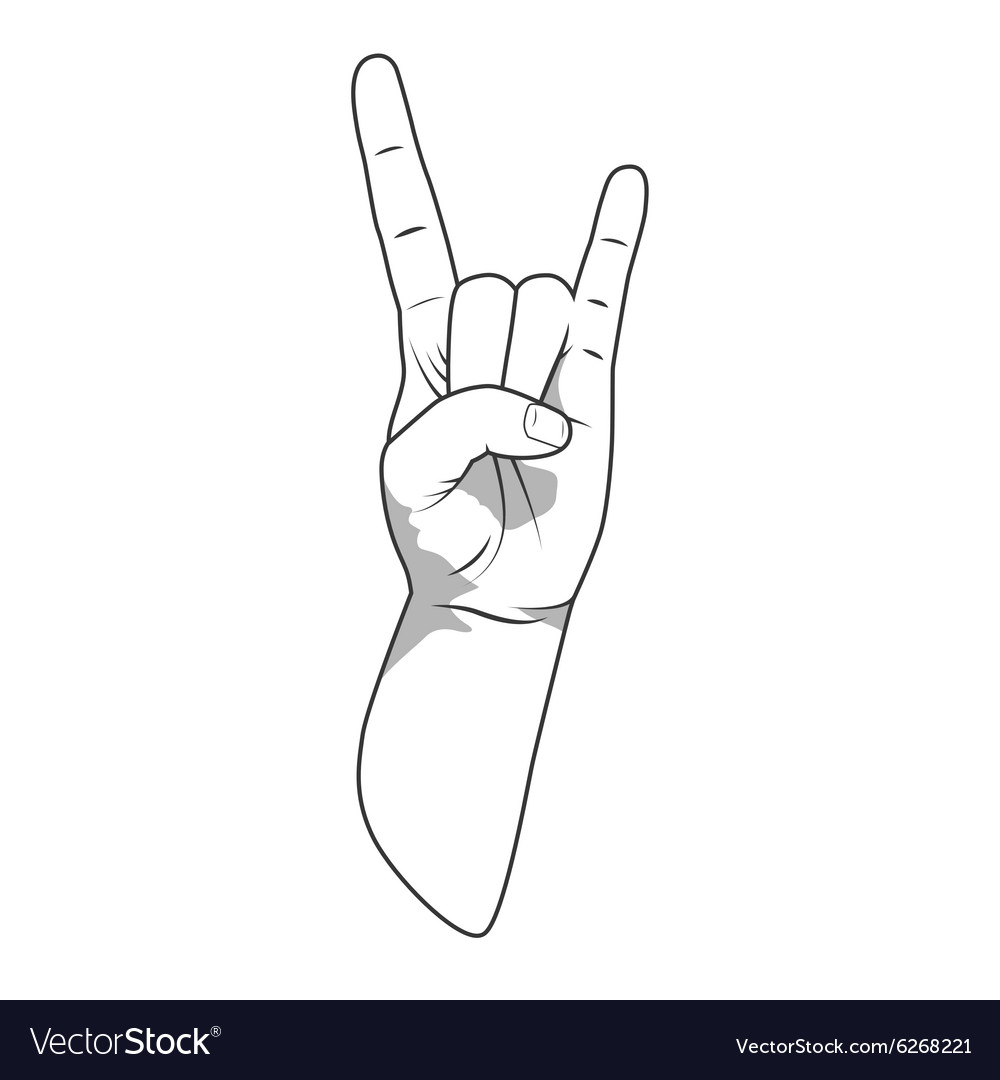 Hand rock sign of the horns gesture vector image