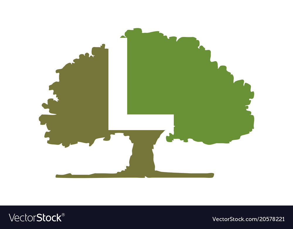 oak tree letter l royalty free vector image vectorstock rh vectorstock com  oak tree logo clip art