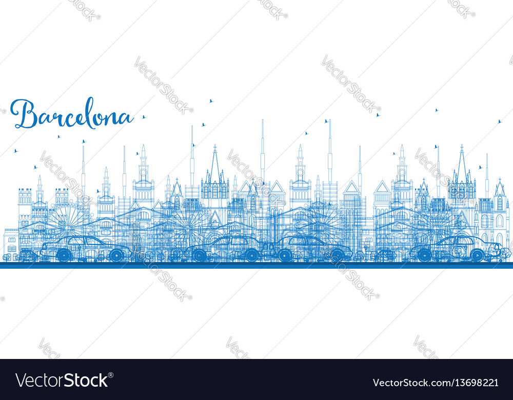 Outline barcelona skyline with blue buildings