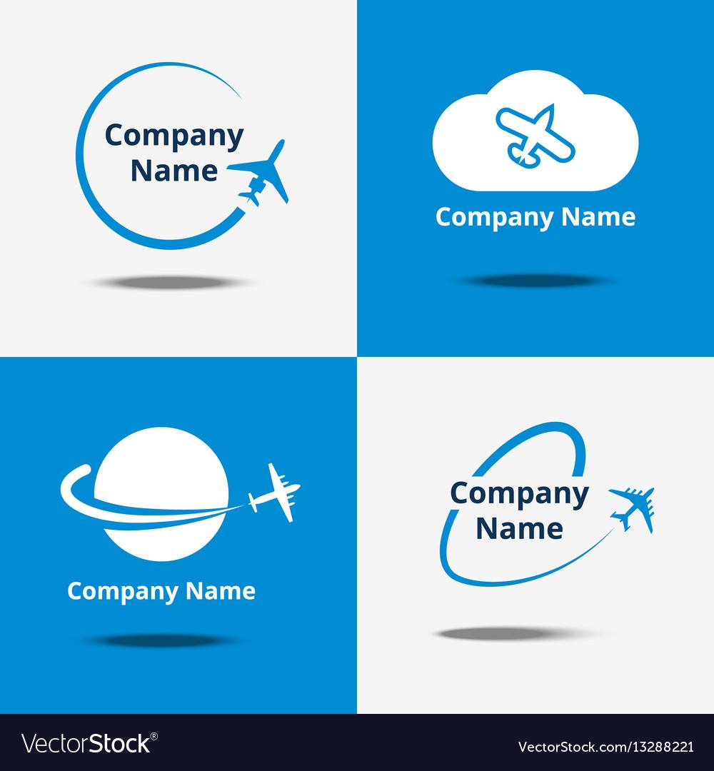 Plane logo set air travel logos or flight