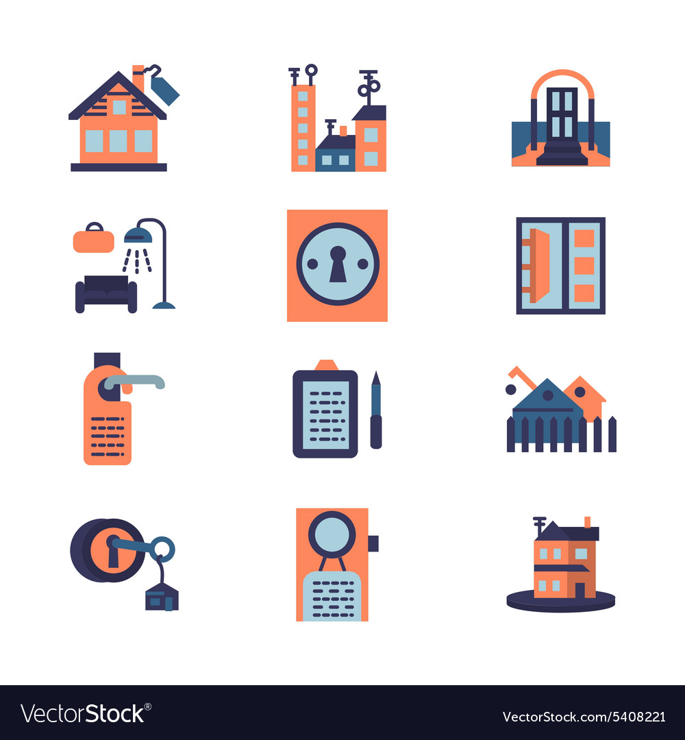 Rent of residential property flat icons