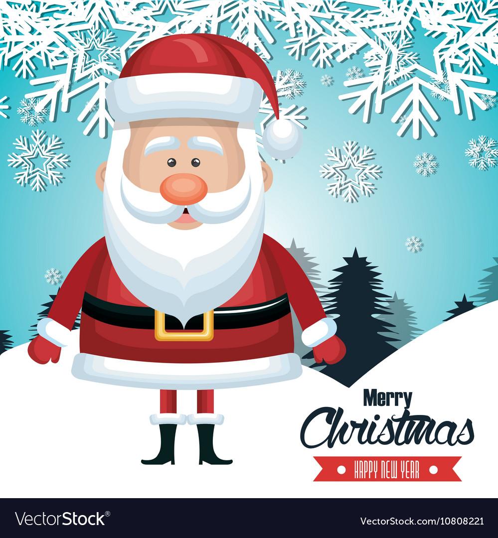 Santa claus card merry christmas snowfall tree