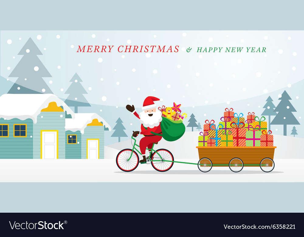 Santa Claus Cycling Bicycles with Gift in Cart