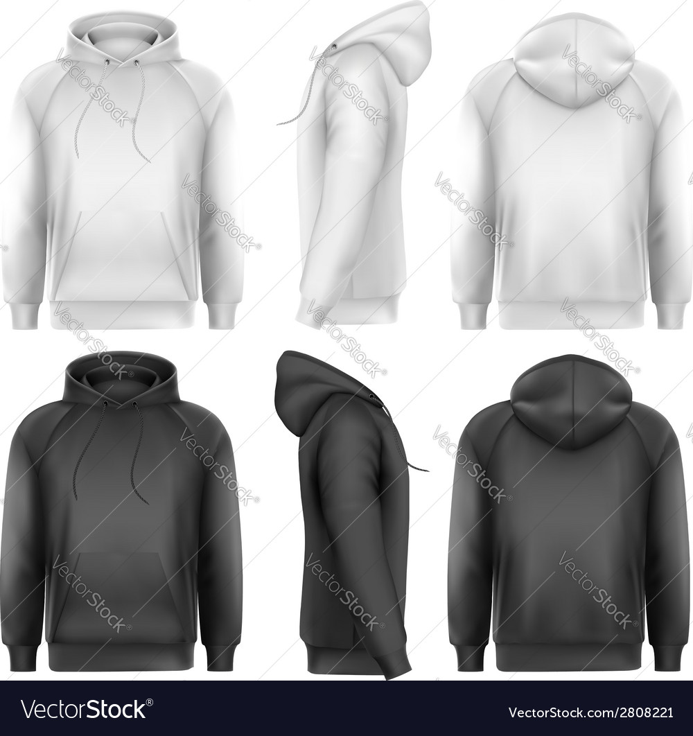Set of black and white male hoodies with sample