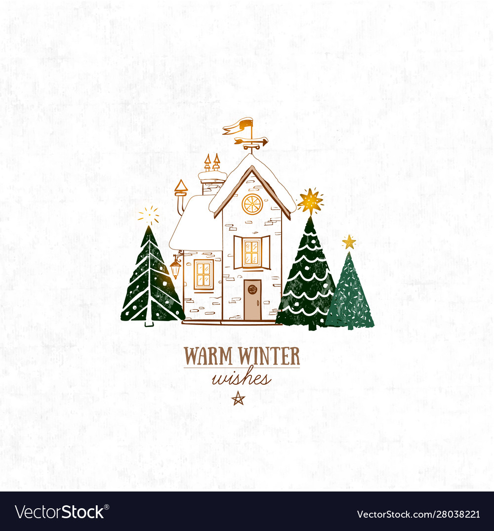 Small snow covered house and three christmas tree