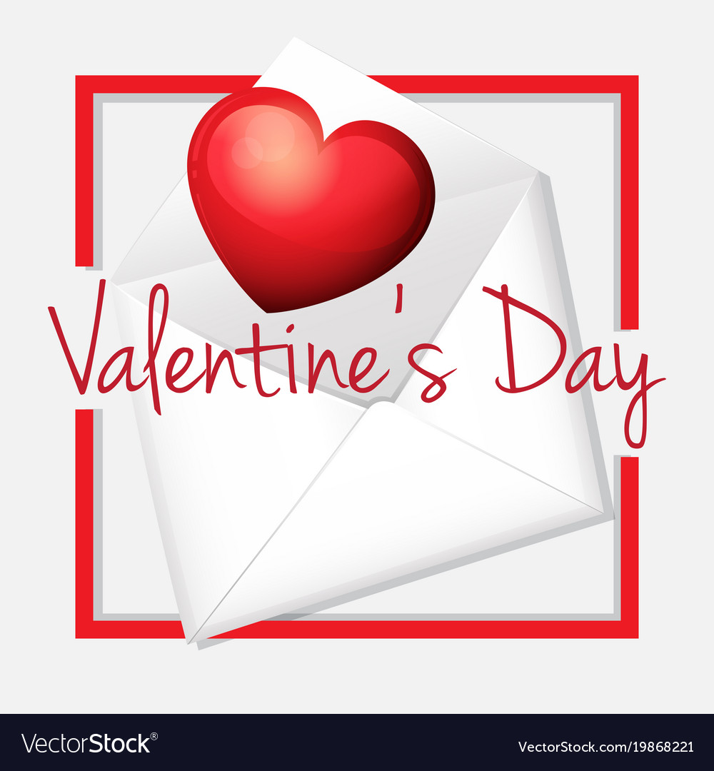 Valentine card template with heart in envelope vector image maxwellsz