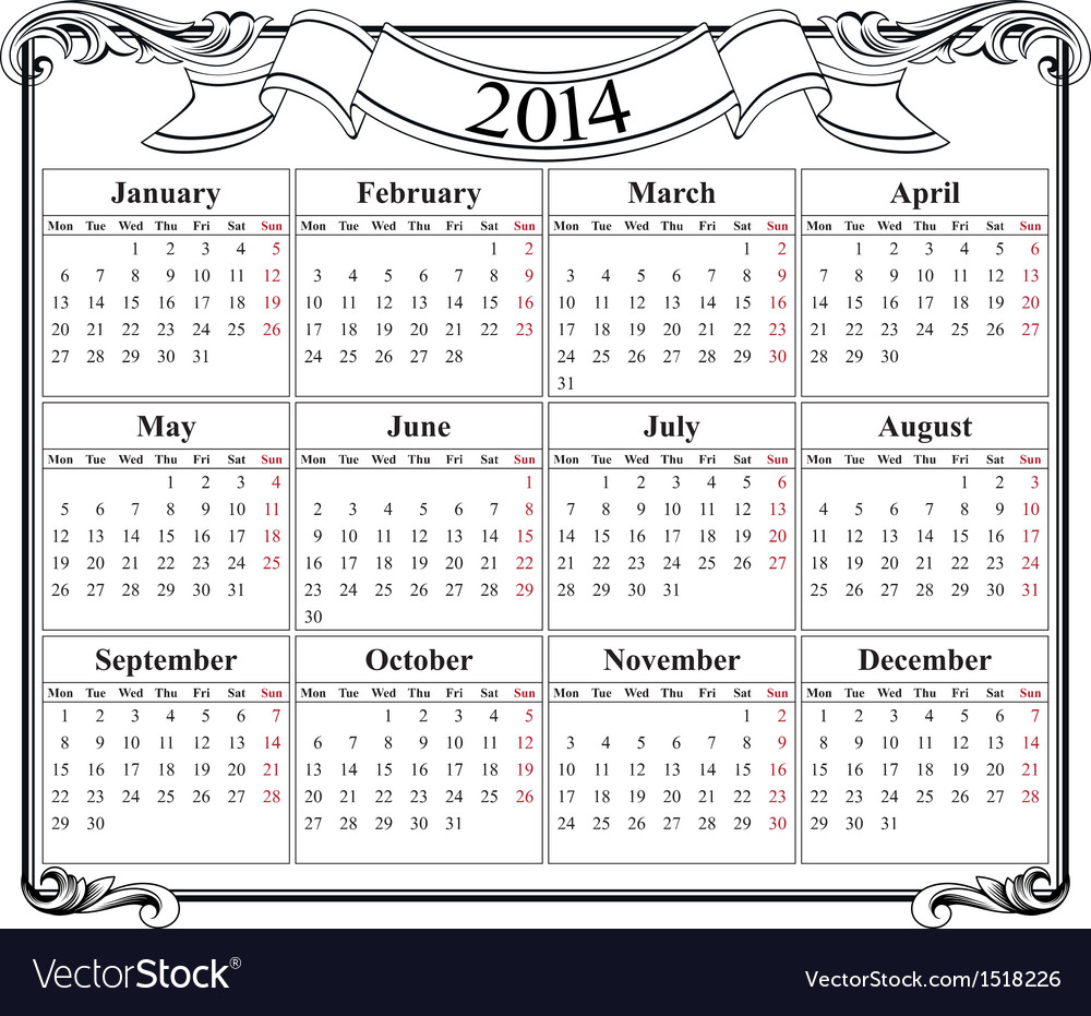 Calendar Grid 2014 Blank Template Royalty Free Vector Image