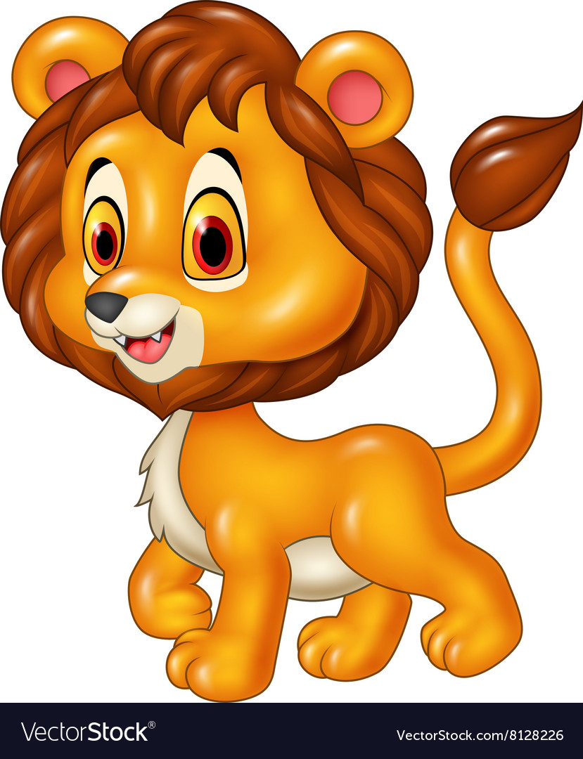 cute baby lion walking isolated royalty free vector image