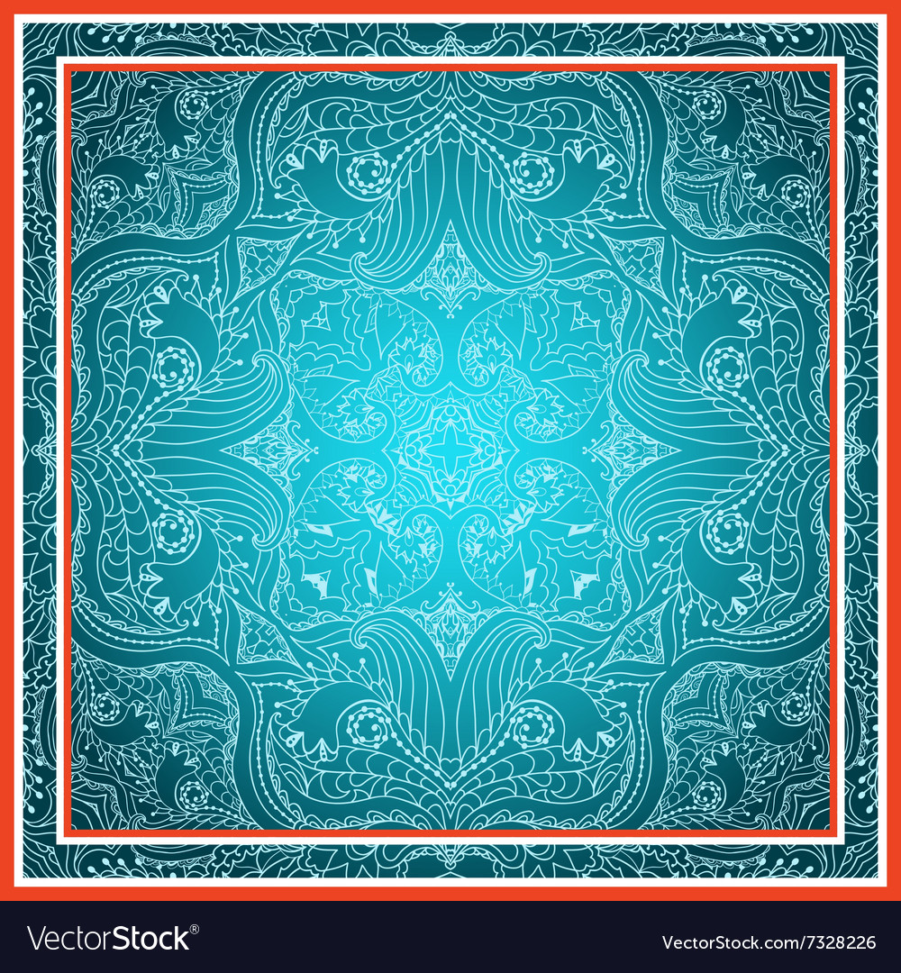 Elegant square floral paisley pattern