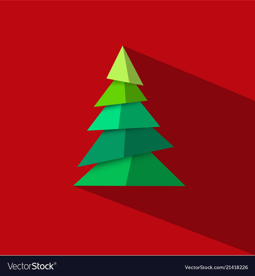 Green christmas tree made paper pieces with long