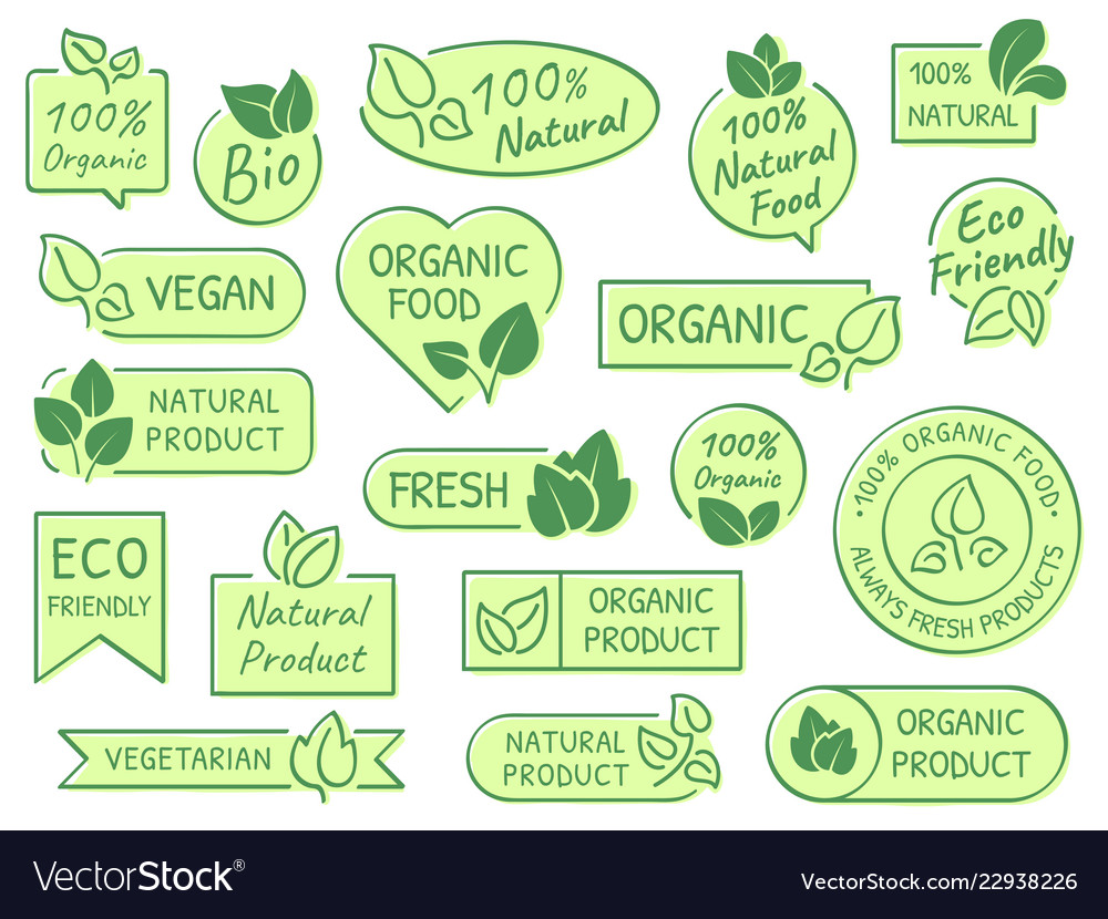 Green leaves labels eco healthy and natural
