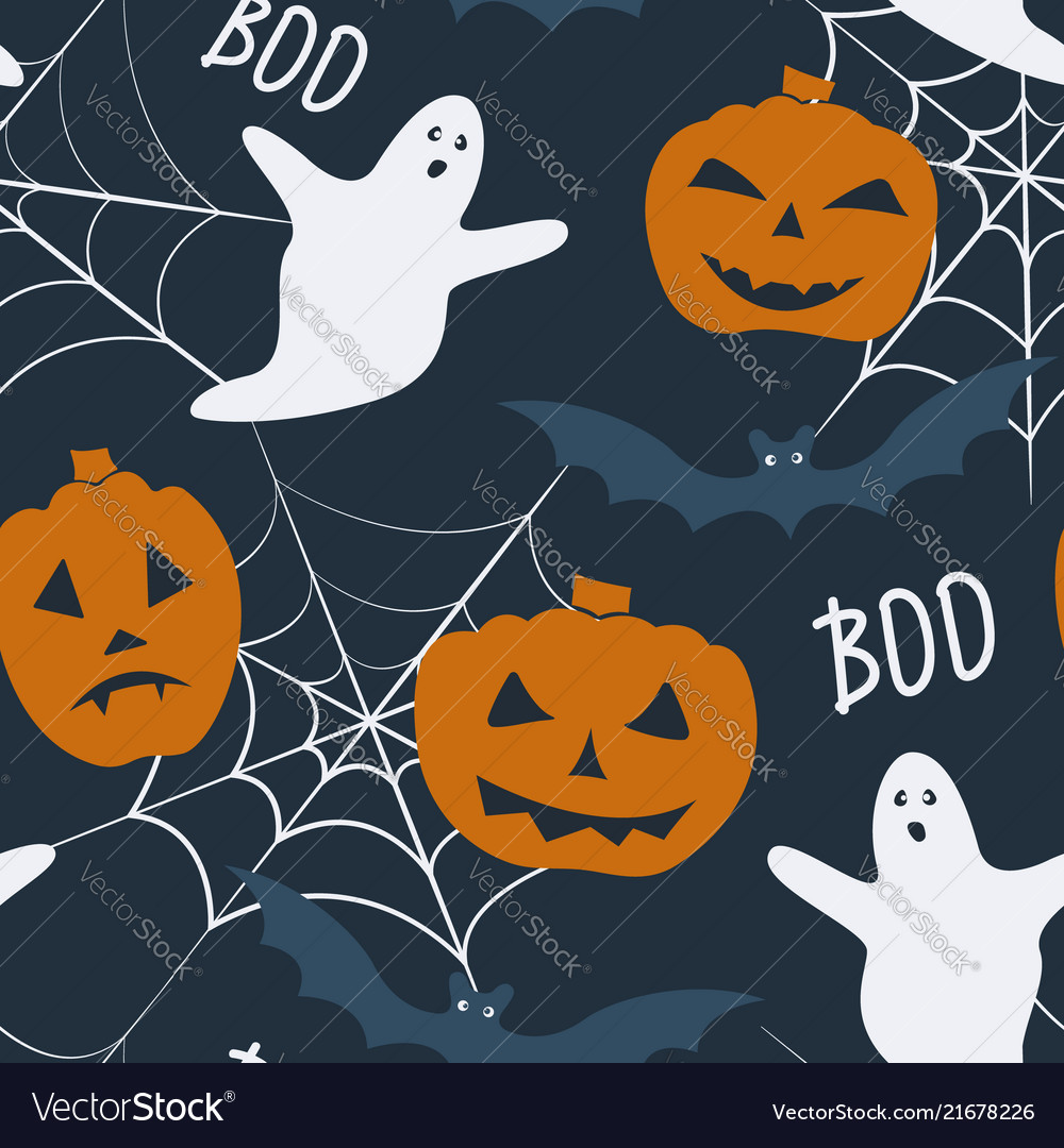 Halloween holiday seamless pattern with - pumpkin
