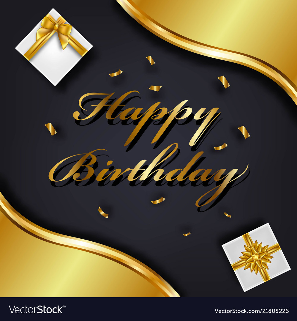 Happy Birthday Greeting Card Template Luxury Gift Vector Image