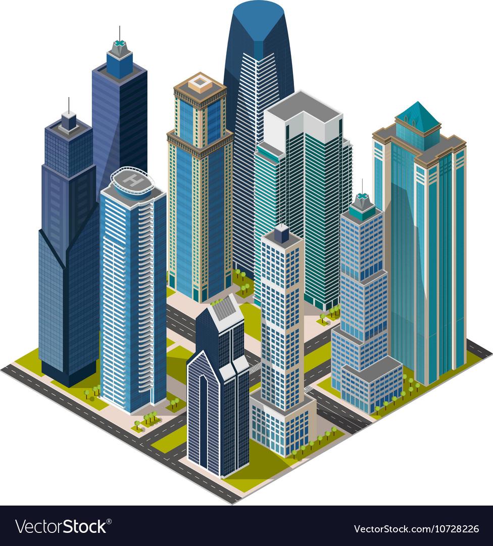 Isometric citymegapolis concept office buildings