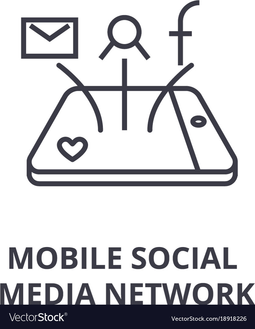 Mobile social media network line icon outline vector image