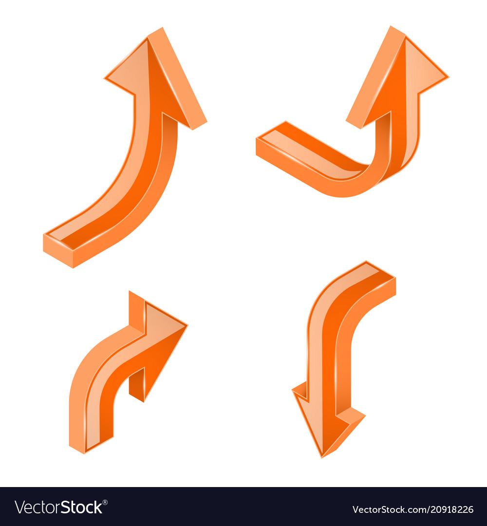 Orange 3d isometric arrows