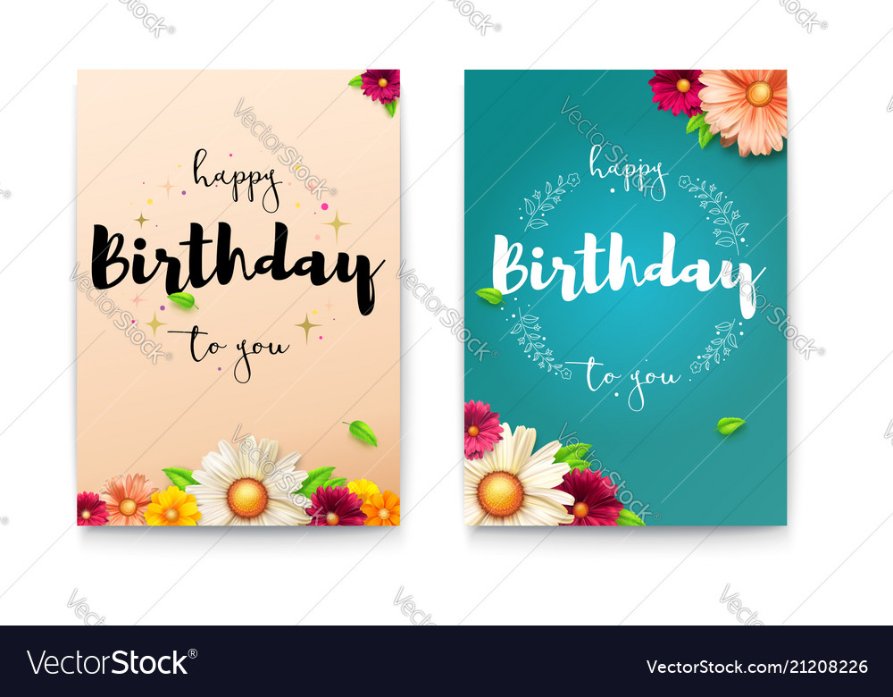 Set happy birthday floral posters