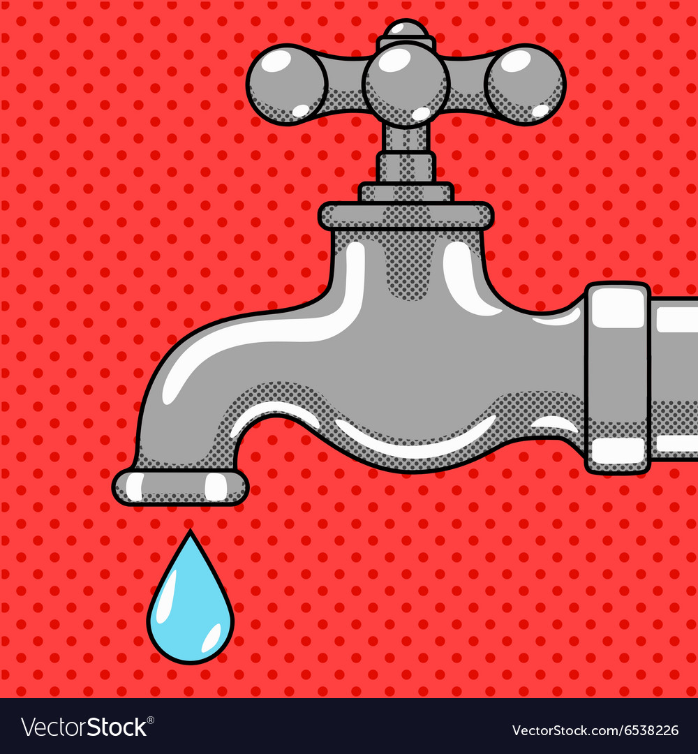 Water tap with drop comic style