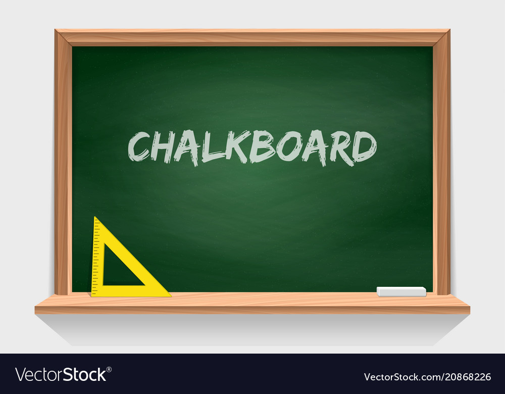 Wooden school chalkboard with green background