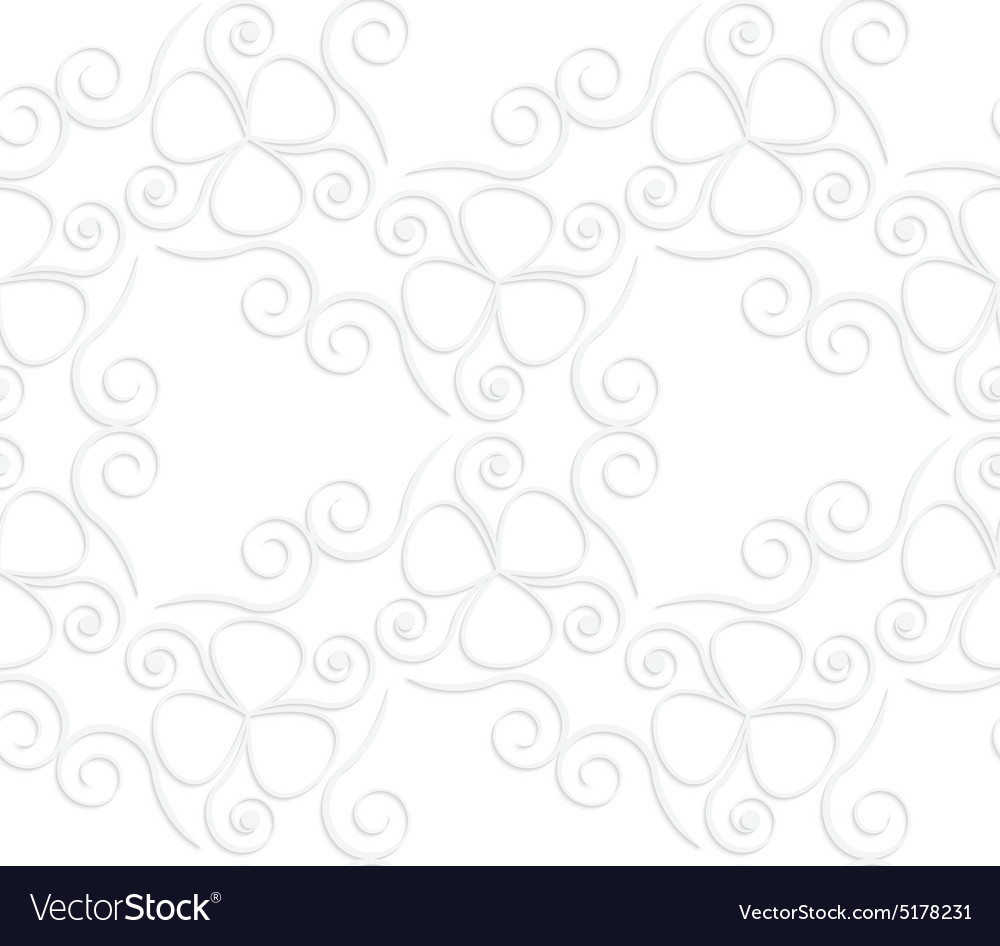 3D white slim swirls and clove leaves vector image