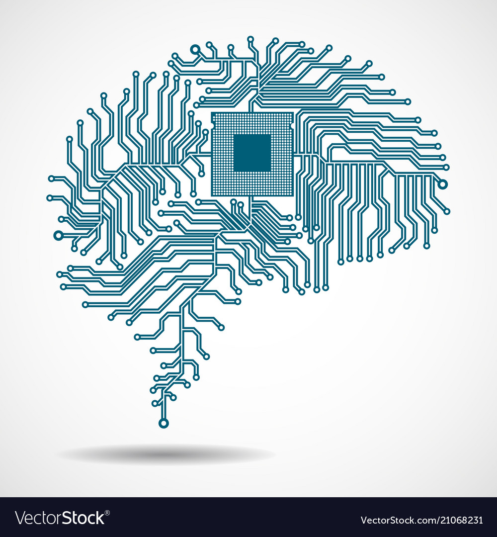 abstract technological brain cpu royalty free vector image vectorstock