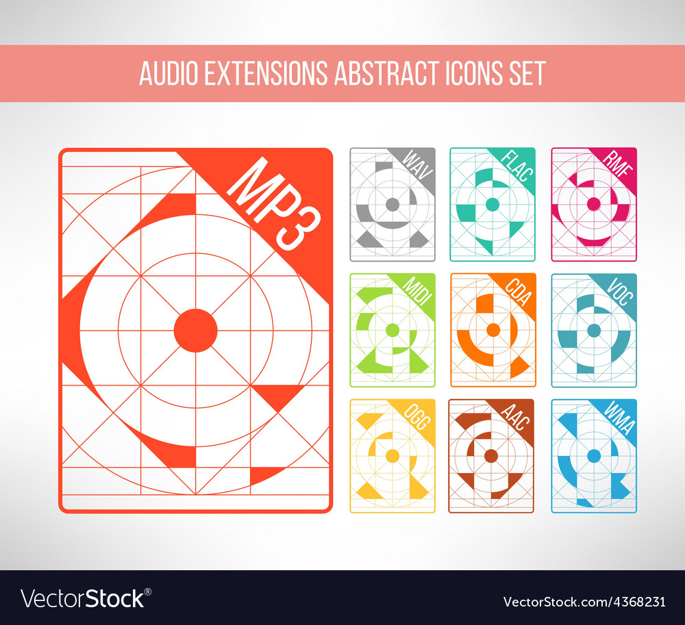 Audio format icons set im modern abstract