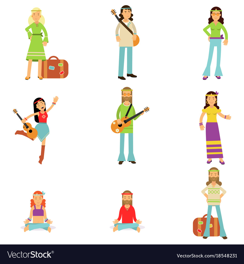 Hippies dressed in classic woodstock sixties hippy vector image