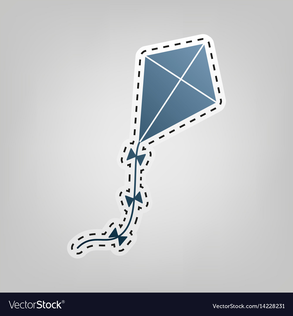 Kite sign blue icon with outline for