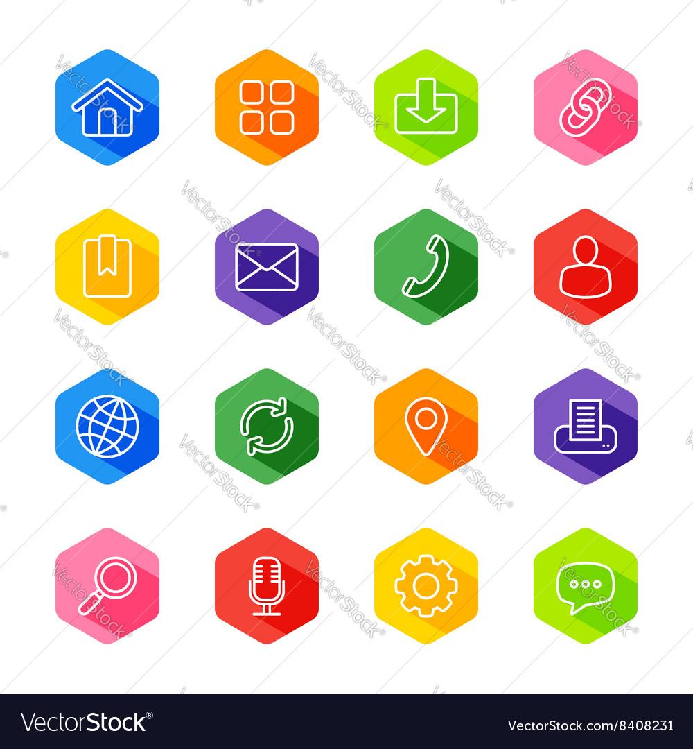 Line web icon set on colorful hexagon