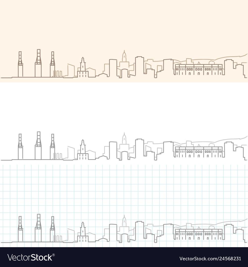 Malaga hand drawn skyline