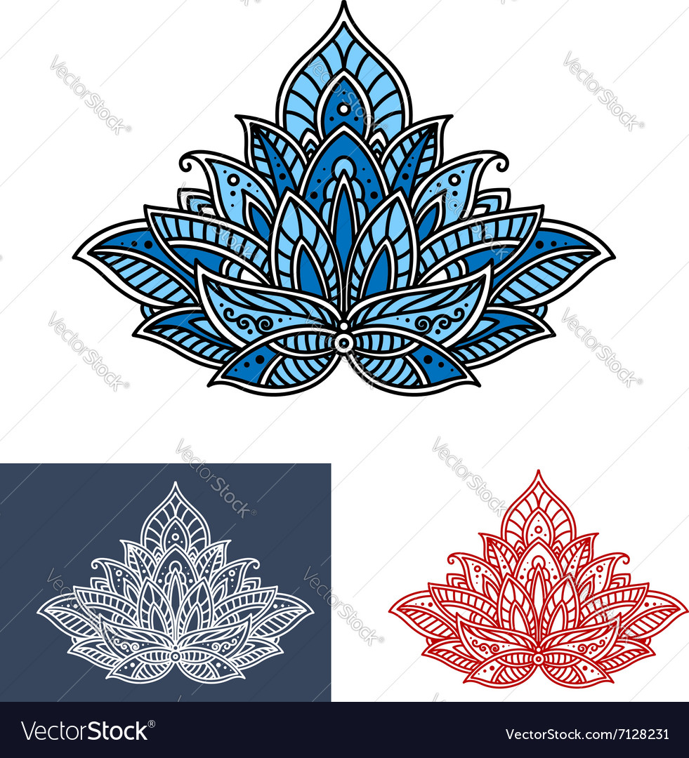 Persian paisley blue flower with scrolls vector image