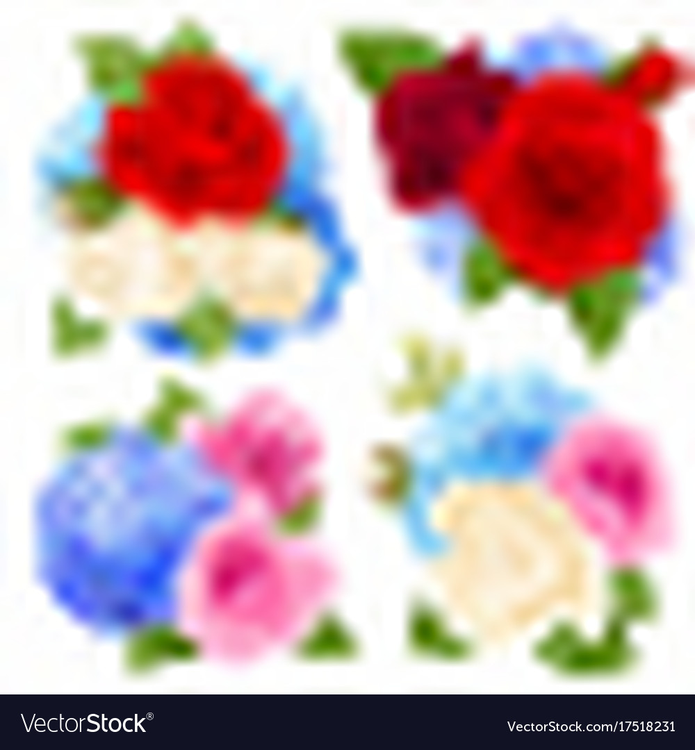 Rose bouquet concept icons set vector image