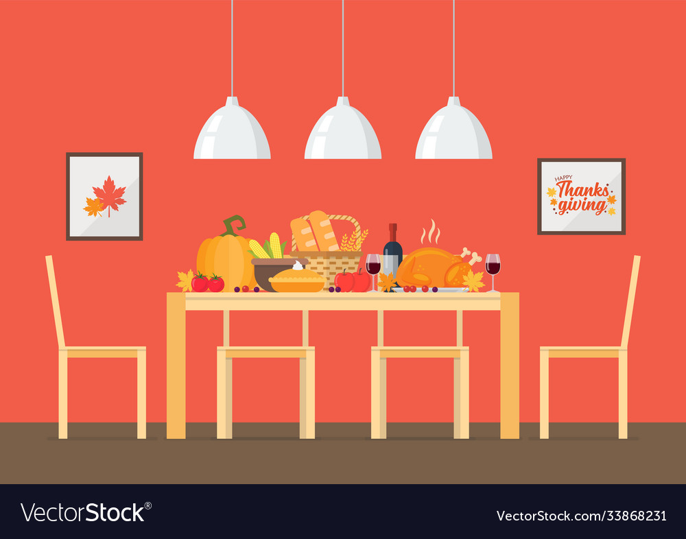 Thanksgiving day invitation with interior dining
