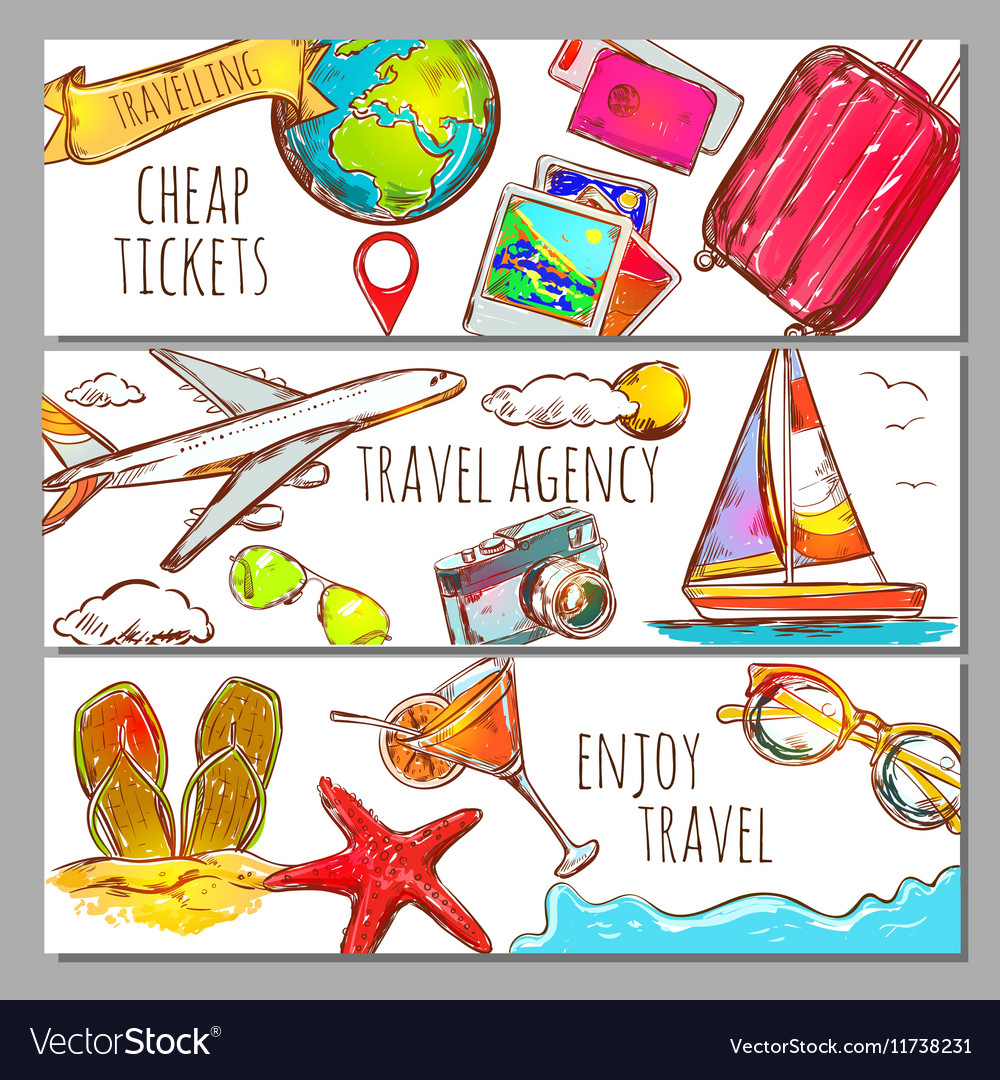 Travel Sketch Banners Set