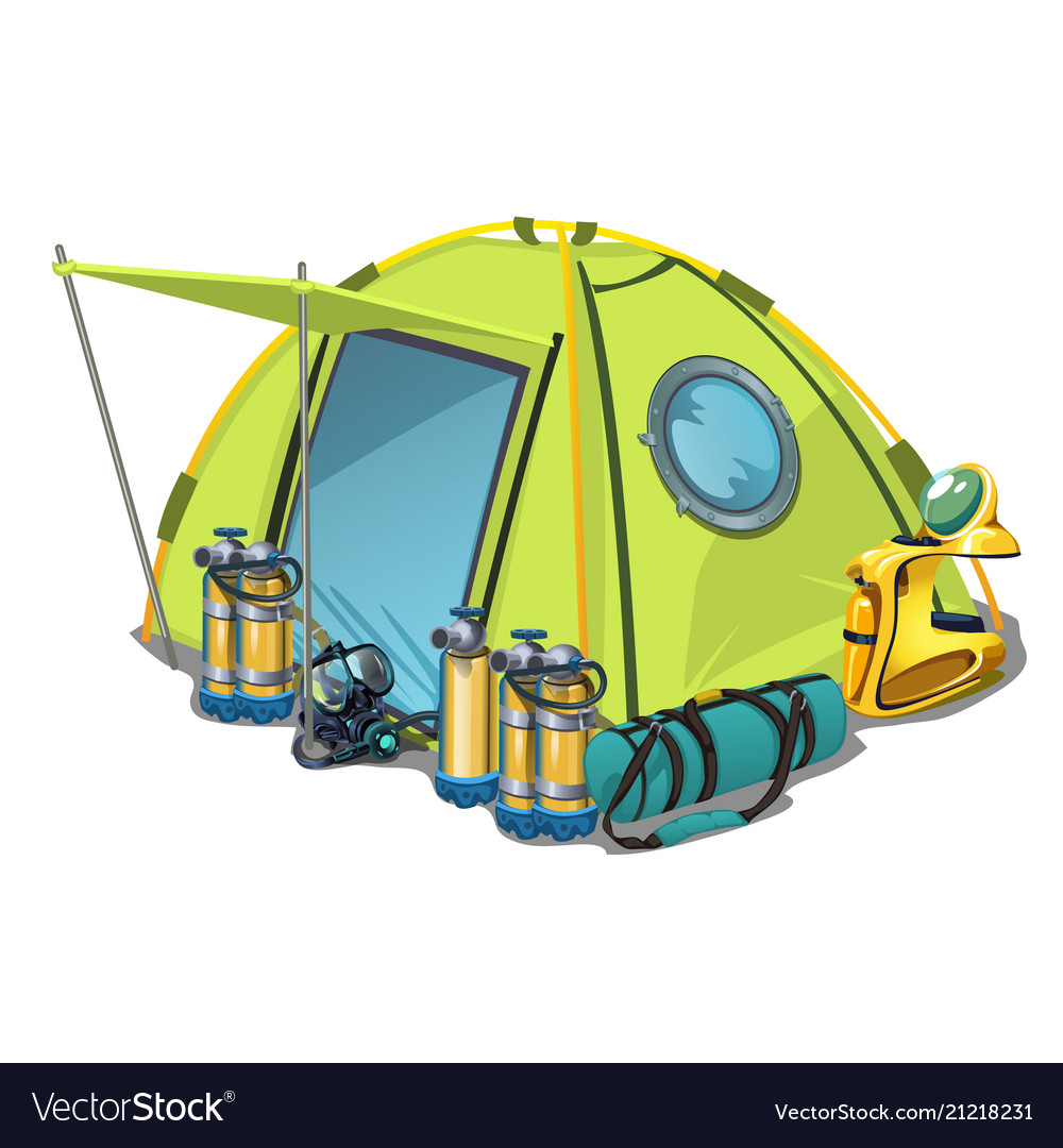 Yellow tent with equipment for diving isolated on