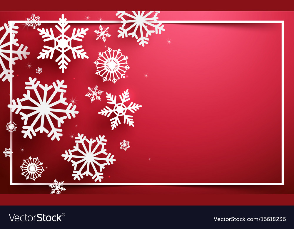 Abstract snowflakes on red background