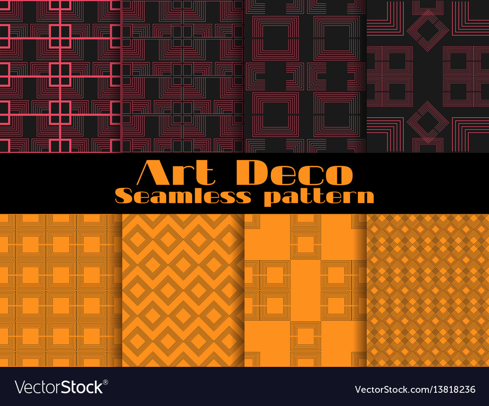 Art deco seamless patterns set retro backgrounds vector image