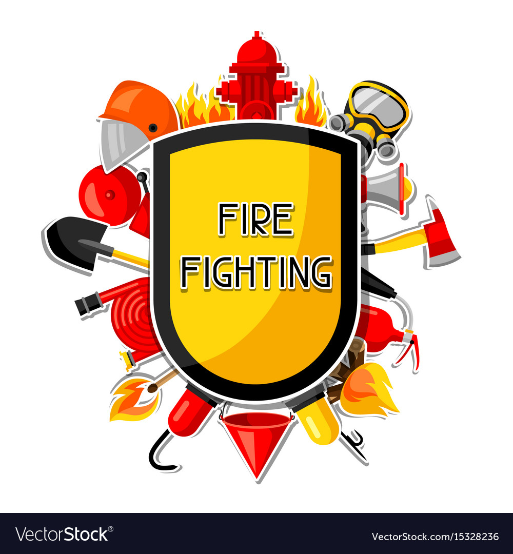 Badge with firefighting sticker items fire vector image