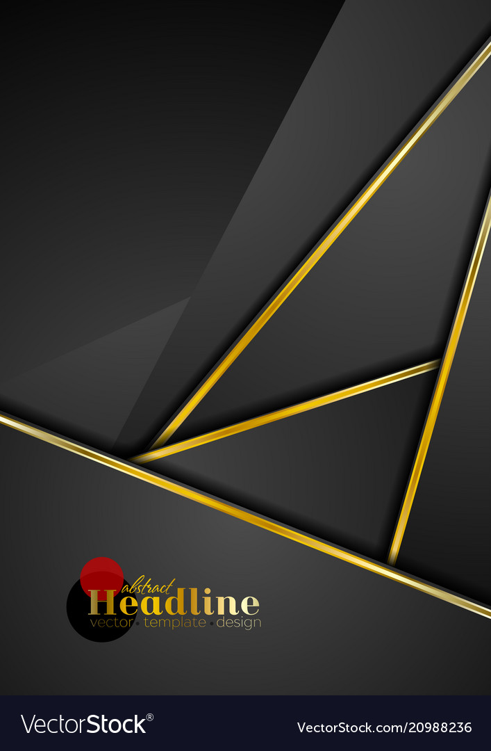 Black Abstract Corporate Background With Golden