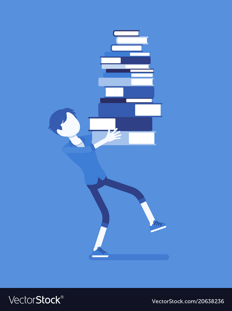 Boy holding a pile of books vector image