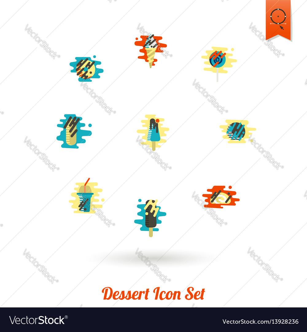 Dessert icon set in modern flat design style