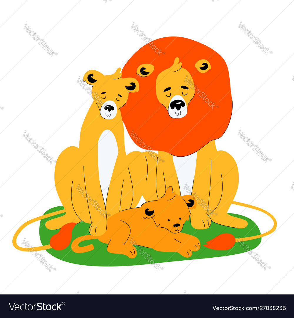 Family lions - flat design style