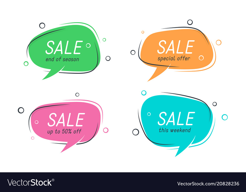 Flat speech bubble shaped banners price tags