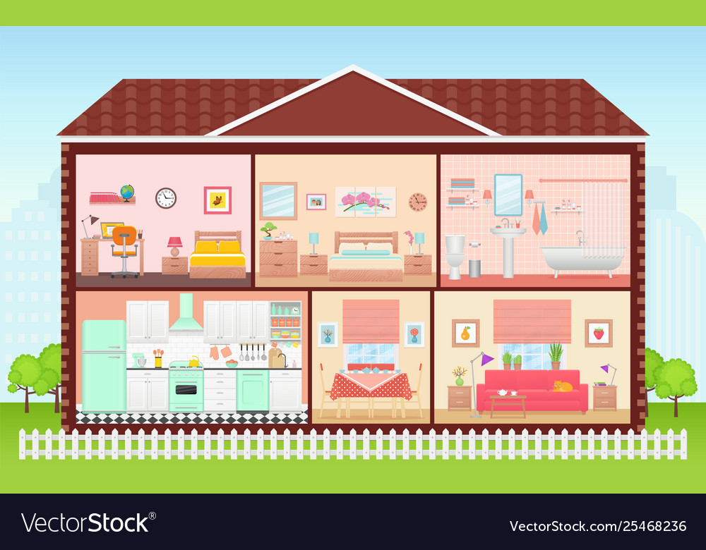 House Inside With Rooms Interiors In Flat Design