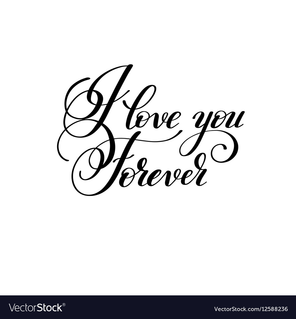 I Love You Forever Handwritten Lettering Quote Vector Image