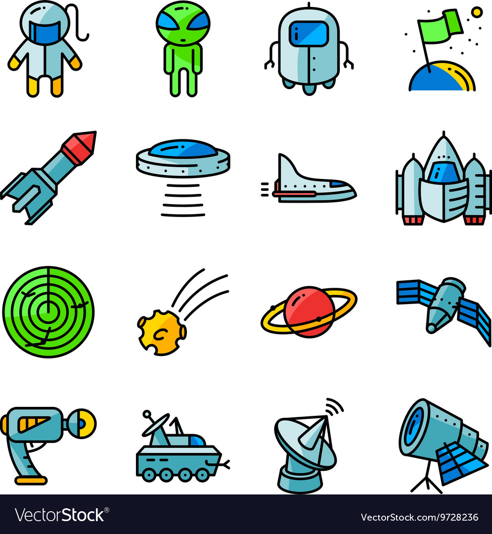 Icons set with space tehlology UFO and alien