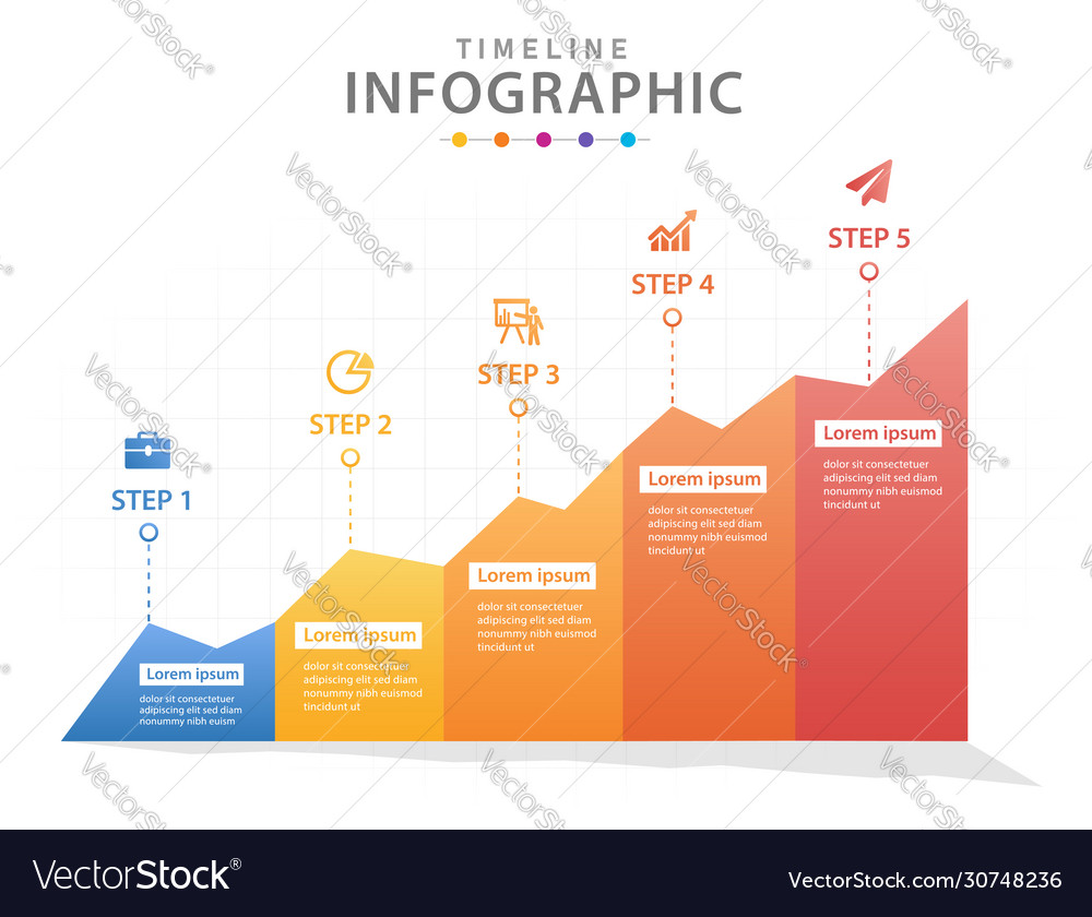 Infographic template for business 5 steps modern